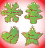 Biscotti di Natale con Snowdust ed il confine Immagini Stock