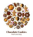 Biscotti di Natale del cioccolato Fotografia Stock