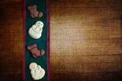 Biscotti di Natale del fondo Immagini Stock Libere da Diritti