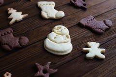 Biscotti di Natale del fondo Fotografia Stock