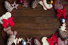 Biscotti di Natale del fondo Fotografia Stock Libera da Diritti