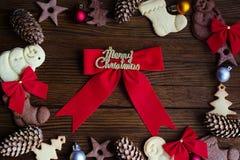 Biscotti di Natale del fondo Immagini Stock