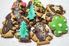 Biscotti di Natale del primo piano su un fondo bianco Fotografia Stock