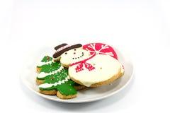 Biscotti di Natale; uomo della neve ed albero di Natale Fotografia Stock Libera da Diritti