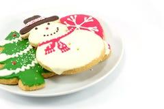 Biscotti di Natale; uomo della neve ed albero di Natale Fotografia Stock