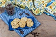Biscotti di pepita di cioccolato cotti freschi Fotografie Stock