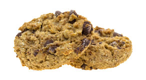 Biscotti di pepita di cioccolato della farina d'avena su un fondo bianco Immagine Stock Libera da Diritti