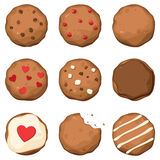 Biscotti di pepita di cioccolato impostati Fotografia Stock Libera da Diritti