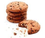Biscotti di pepita di cioccolato isolati fotografia stock