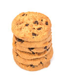 Biscotti di pepita di cioccolato isolati su priorità bassa bianca Immagini Stock Libere da Diritti