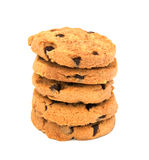 Biscotti di pepita di cioccolato isolati su priorità bassa bianca Fotografie Stock Libere da Diritti