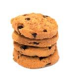 Biscotti di pepita di cioccolato isolati su priorità bassa bianca Fotografie Stock