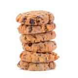 Biscotti di pepita di cioccolato su priorità bassa bianca Fotografia Stock Libera da Diritti