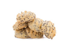 Biscotti di pepita di cioccolato su priorità bassa bianca Immagini Stock