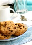 Biscotti di pepita di cioccolato sulla zolla Immagine Stock