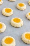 Biscotti di Thumbprint con la cagliata di limone Fotografia Stock Libera da Diritti