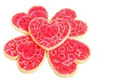 Biscotti di zucchero del cuore su bianco Immagini Stock