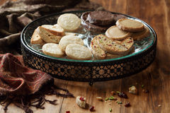 Biscotti and Different Shortbread Cookies Royalty Free Stock Images