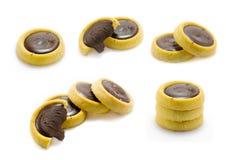 Biscotti differenti della raccolta dei biscotti del cioccolato su fondo bianco Fotografie Stock