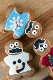 Biscotti divertenti del pan di zenzero di festa Fotografia Stock
