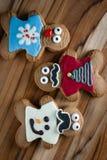 Biscotti divertenti del pan di zenzero di festa Fotografia Stock Libera da Diritti