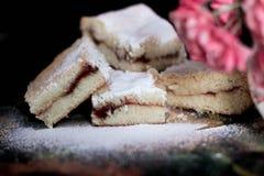 Biscotti dolci casalinghi con inceppamento, spruzzato con zucchero in polvere, fine su Fotografia Stock