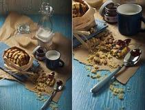 Biscotti dolci dell'arachide con latte Fotografie Stock