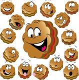 Biscotti dolci di natale con i fronti divertenti Fotografia Stock Libera da Diritti