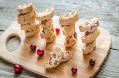 Biscotti with dried cranberries Stock Photo