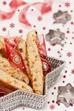 Biscotti with dried fruits for Christmas Royalty Free Stock Images