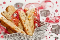Biscotti with dried fruits for Christmas Royalty Free Stock Image