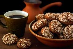 Biscotti e caffè Fotografie Stock