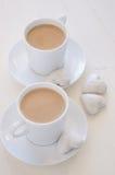 biscotti e caffè di Cuore-forma Immagine Stock