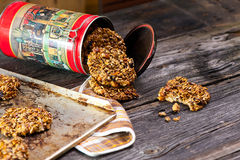 Biscotti e contenitore di farina d'avena Immagine Stock Libera da Diritti