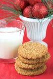 Biscotti e latte di natale Fotografie Stock Libere da Diritti