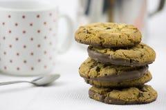Biscotti e latte di pepita di cioccolato immagine stock libera da diritti