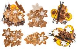 Biscotti e spezie del pan di zenzero Ingredienti alimentari del dolce di Natale Fotografie Stock