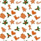 Biscotti ed agrifoglio del pan di zenzero di Natale senza cuciture royalty illustrazione gratis