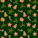 Biscotti ed agrifoglio del pan di zenzero di Natale senza cuciture illustrazione vettoriale