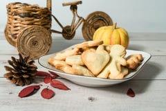 Biscotti fatti a mano con il fondo di colore leggero immagine stock libera da diritti
