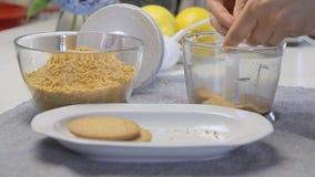 Biscotti fendentesi per la cottura del dolce della crema del formaggio con i mirtilli stock footage