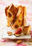 Biscotti. With fig and nuts stock images
