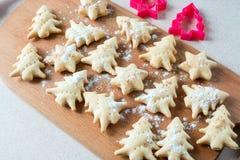 Biscotti finiti sotto forma degli alberi di Natale e delle stelle Immagini Stock