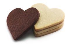Biscotti a forma di del cuore in bianco e nero Fotografie Stock