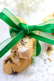 Biscotti with green ribbon Royalty Free Stock Photo