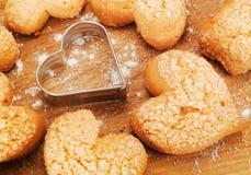 Biscotti heartshaped casalinghi Fotografie Stock