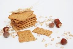 Biscotti interi naturali sani di forma fisica e di dieta Avena e spuntini della totalità Fotografia Stock