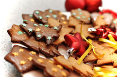 Biscotti lustrati del pan di zenzero Immagine Stock
