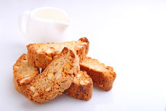 Biscotti with nuts on a white background Stock Photos