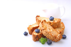Biscotti with nuts on a white background Royalty Free Stock Images